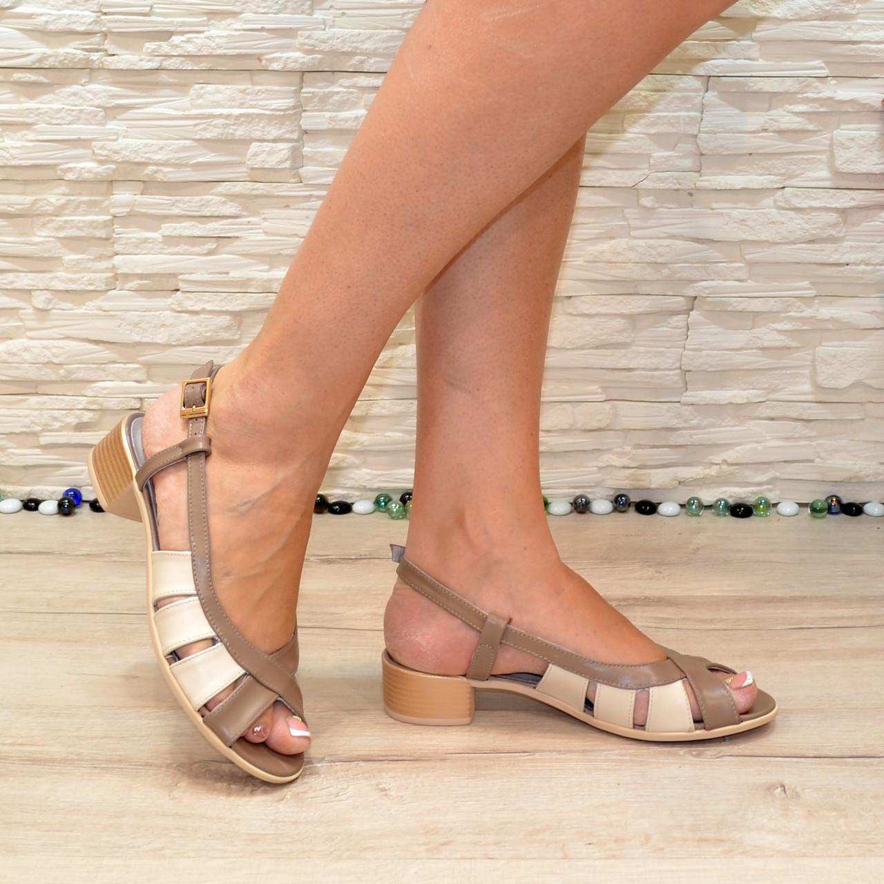Женские босоножки на невысоком каблуке, цвет визон/беж