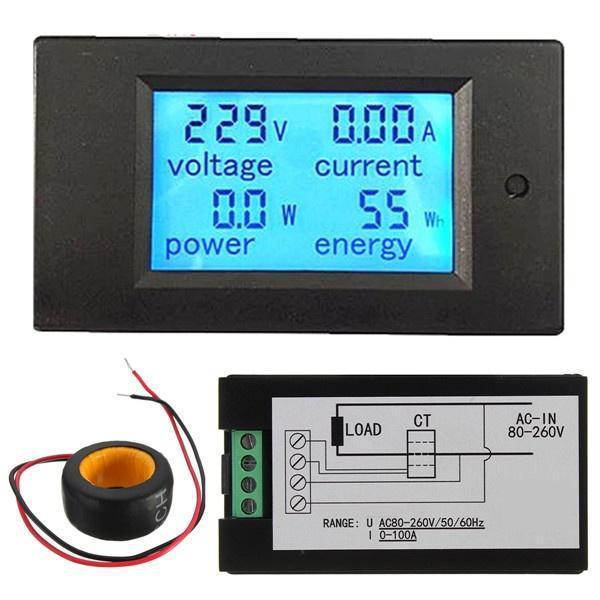 Вимірювач параметрів струму, ватметр, AC 220В, 100А