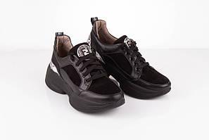 Высокие женские кроссовки кожаные 36-41 черный