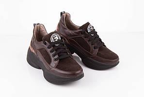 Женские кожаные кроссовки 36-41 коричневый