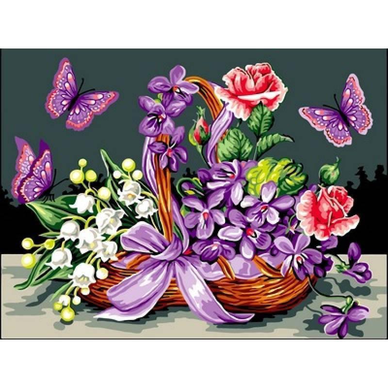 """Картина раскраска по номерам """"Цветы в корзине и бабочки ..."""