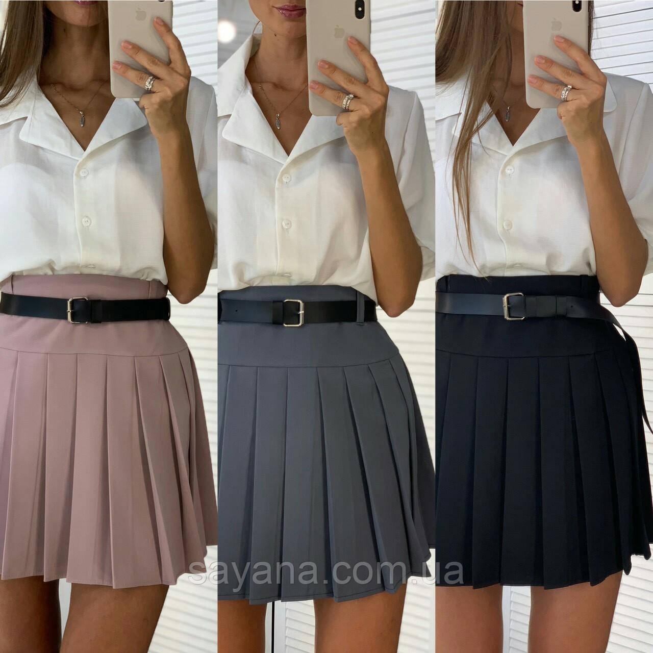 Женская юбка в складки с поясом,в расцветках. ЛД-1-0919