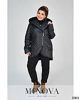 Куртка стеганка черная с капюшоном батальные размеры 48 50 52 54 56 58 69 62