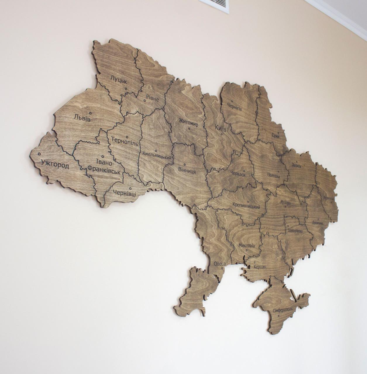 Карта Украины с фанеры (полисандр)