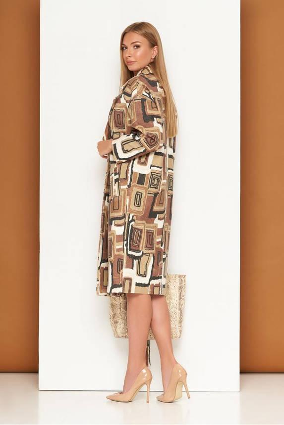 Кашемировое женское пальто оверсайз двубортное с принтом, фото 2
