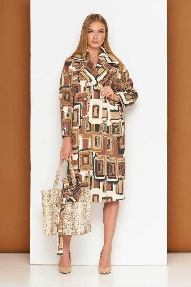 Кашемировое женское пальто оверсайз двубортное с принтом