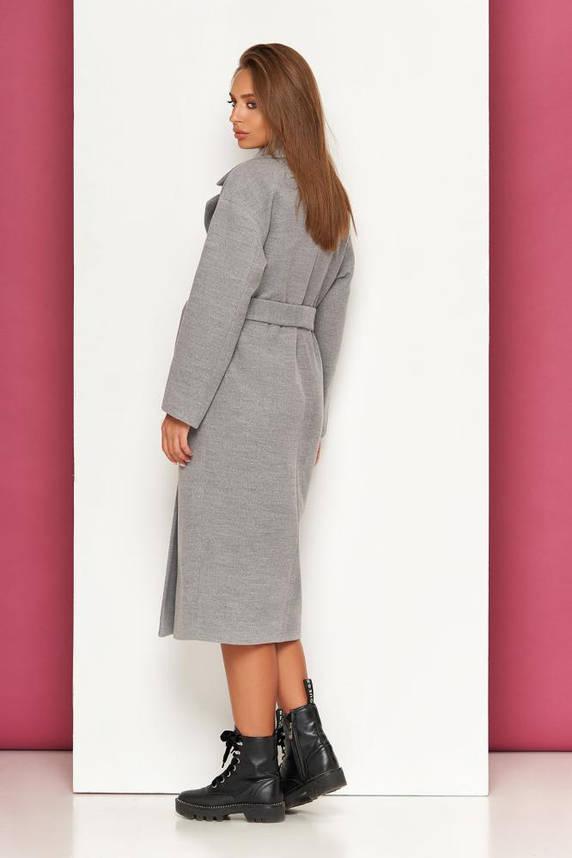 Женское кашемировое пальто оверсайз двубортное серое, фото 2