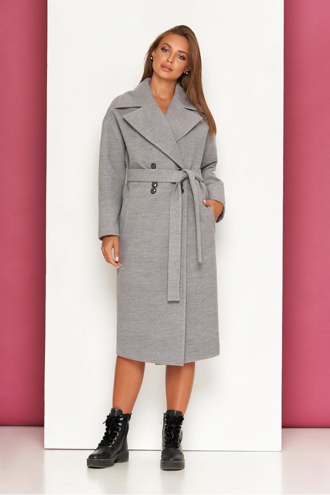 Женское кашемировое пальто оверсайз двубортное серое