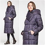 Модний зимовий атласний пуховик - пальто KTL з об'ємним коміром, фото 2