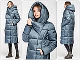 Модний зимовий атласний пуховик - пальто KTL з об'ємним коміром, фото 4