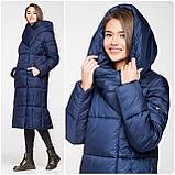 Модний зимовий атласний пуховик - пальто KTL з об'ємним коміром, фото 5