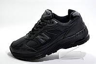 Кожаные кроссовки в стиле New Balance 991 Classic, Black\Черные