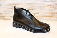 Ботинки женские черные натуральная кожа Д605