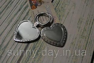 """Заготовка для оформления вышивки """"Брелок"""", сердце/серебро"""