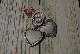 """Заготівля для оформлення вишивки """"Брелок"""", серце/темне срібло"""