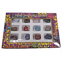 Сердечки из полудрагоценных камней (н-р/12шт)( сердечко h-2,5 см)(упаковка 27х18х3,5 см)
