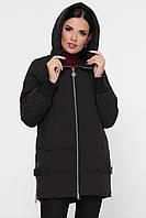 Женская зимняя куртка на молнии с капюшоном черная, фото 1
