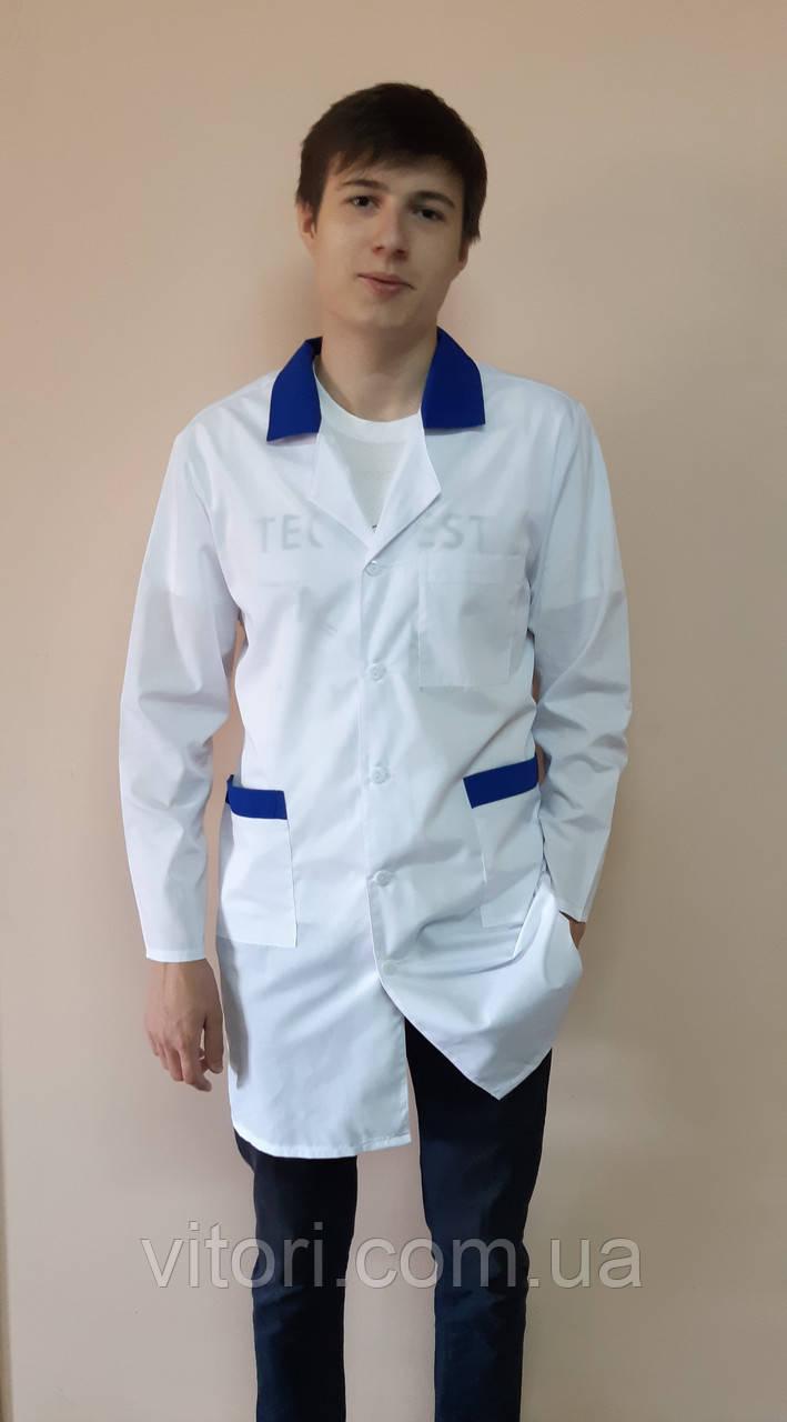 Мужской медицинский классический халат с цветным воротником рубашечная ткань