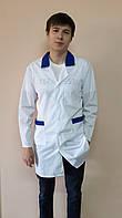 Мужской медицинский классический халат с цветным воротником рубашечная ткань, фото 1