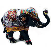 Статуэтка Слон из алюминия Цветной черный (длина 25 см)