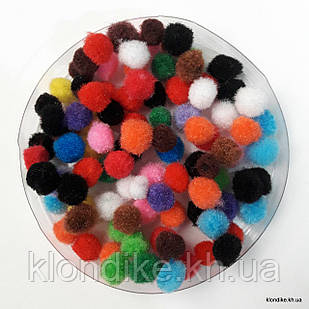 Помпоны, 10 мм, Цвет: Микс (100 шт.)