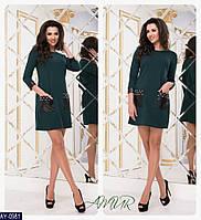 Практичное платье со вставками с экокожи арт 247