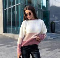 Теплый женский свитер свободного кроя