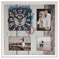 Настенные часы-фоторамка под 3 фотографии Концепт Серый