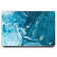Виниловая наклейка на ноутбук Asus, Acer, Lenovo< Hp, MSI, Macbook Голубые мазки краски Матовая