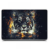Виниловая наклейка на ноутбук Asus, Acer, Lenovo, Hp, MSI, Macbook Red Тигр, графит Матовый
