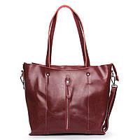 Женская сумка бордового цвета из натуральной кожи, классика