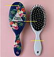Расческа для волос женская овальная Flowers (цветы) большая, фото 2
