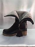 Комфортные зимние чёрные полусапожки,сапоги больших размеров Romax, фото 4