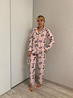 Пижама женская Фламинго флис на пугвицах Хорошего качества, фото 1