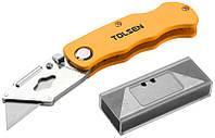 Нож складной TOLSEN алюминиевый, 5 лезвий  SK5, трапеция (30007)