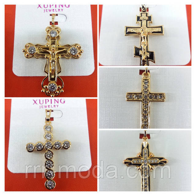 фото презентация - позолоченные кулоны кресты оптом, позолоченная бижутерия Xuping опт