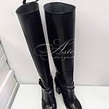 Жіночі чорні чоботи труби на товстому каблуці, фото 3