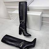 Жіночі чорні чоботи труби на товстому каблуці, фото 2