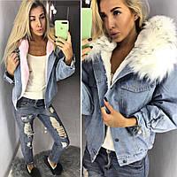Женская теплая джинсовая куртка на меху с капюшоном