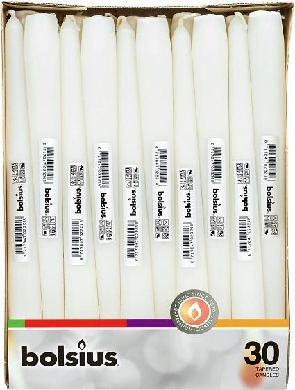 Свеча белая коническая Bolsius 24.5 см 30 шт (8717847029218)