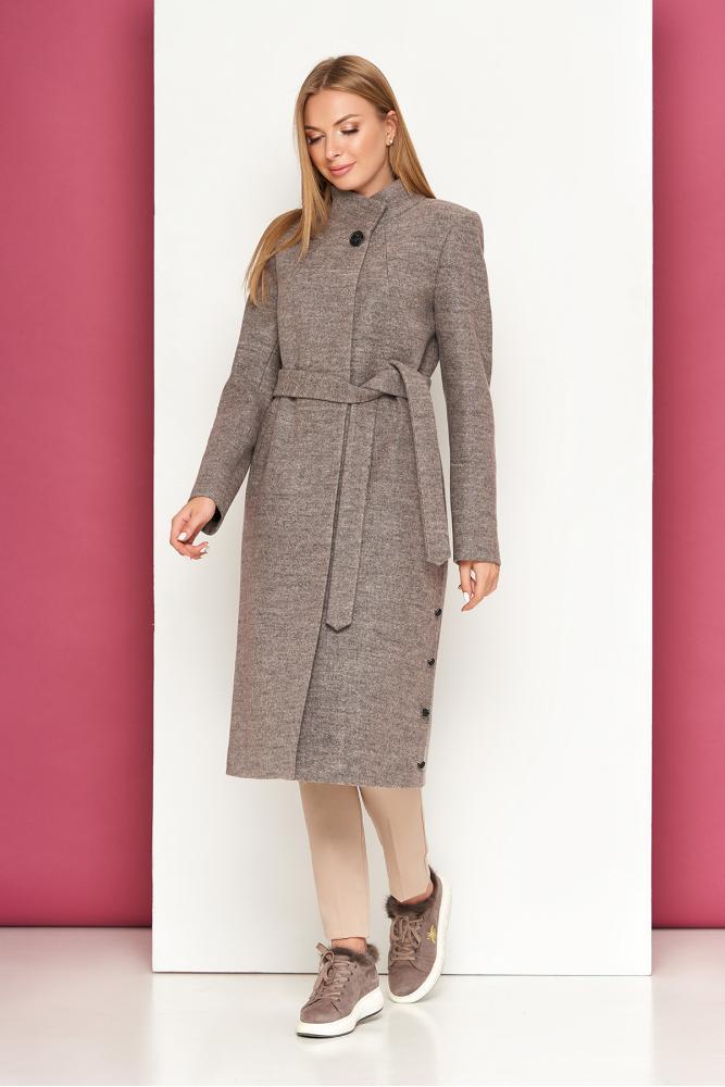 Женское шерстяное пальто осеннее капучино