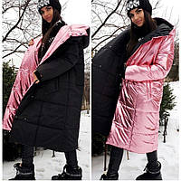 Женская модная двусторонняя куртка-пальто ЗИМА Размеры Л-ХЛ - на грудь до 103 бёдра до 106 Данная модель есть