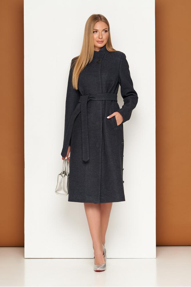 Женское шерстяное пальто демисезонное темно-синее
