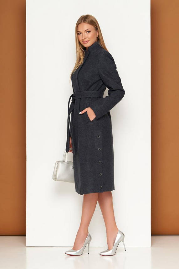 Женское шерстяное пальто демисезонное темно-синее, фото 2