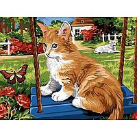 "Картина раскраска по номерам ""Котёнок на качелях"" 30Х40см Babylon VK115"