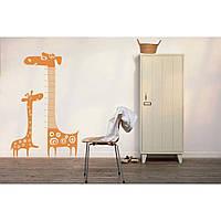 Интерьерная виниловая наклейка на стену Red Giraffe, height meter 120х180 см Оранжевая