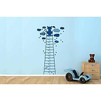 Декоративный стикер наклейка для интерьера дома Red Clouds, height meter 96х180 см Синяя