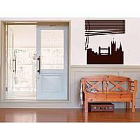 Декоративный стикер наклейка для интерьера дома  Red Window to London 90х96 см Коричневая