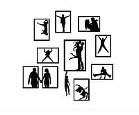 Декоративный стикер наклейка для интерьера дома Red Frames with silhouettes 75х75 см Черная