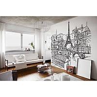 Декоративный стикер наклейка для интерьера дома  Red Panorama of Paris 190х190 см Черная